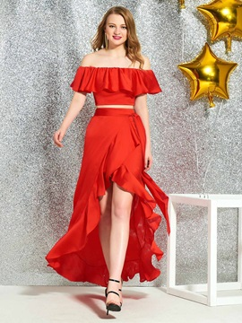 Ruched Short Sleeves Off-The-Shoulder A-Line Cocktail Dress 2019
