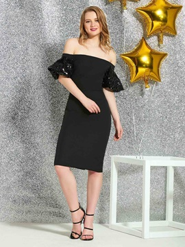 Cap Sleeves Knee-Length Sheath/Column Off-The-Shoulder Cocktail Dress 2019