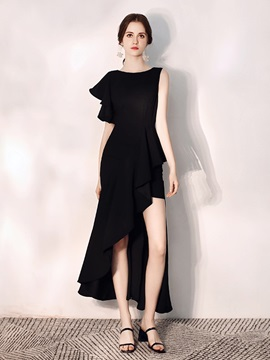 Scoop Asymmetry Trumpet Cocktail Dress 2019