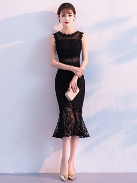 Lace Sleeveless Scoop Tea-Length Cocktail Dress 2019