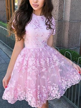 Jewel Neck Short Sleeves Lace Homecoming Dress 2019