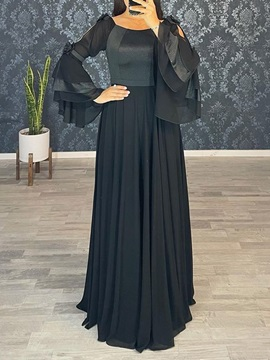 Long Sleeves A-Line Floor-Length Square Cocktail Dress
