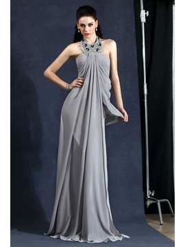 A-Line Halter Draped Beading Long Evening Dress