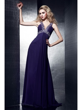 Glamorous Floor-Length V-Neck A-Line Dasha's Evening Dress