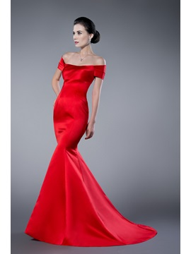 Simple Red Mermaid Off the Shoulder Long Evening Dress & Evening Dresses under 500