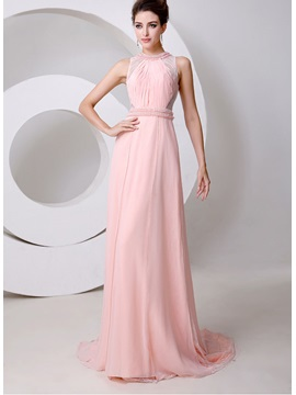 Graceful Jewel Neck Pearls Beading A-Line Court Train Long Evening Dress