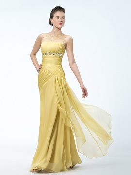 Sheath Tulle Neckline Beading Empire Evening Dress