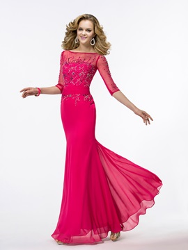 Gorgeous Trumpet Half Sleeves Beading Bateau Neckline Long Evening Dress & Evening Dresses for sale