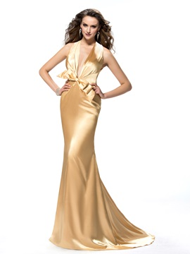 Backless Halter Bowknot Court Train Trumpet Evening Dress Designed & Evening Dresses under 500