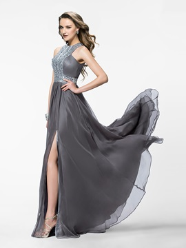 A-Line Jewel Beading Split-Front Long Evening Dress