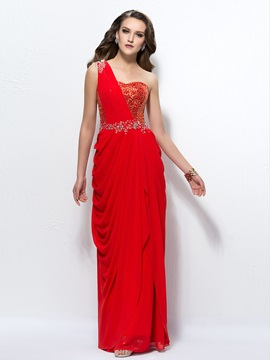Sumptuous One-Shoulder Sequins Beading Floor-Length Evening Dress & cheap Evening Dresses