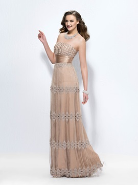 Classical A-Line Strapless Tassel Lace Zipper-up Floor-Length Evening Dress Designed & vintage style Evening Dresses
