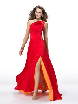Glorious One-Shoulder Hollow Out Floor-Length Split-Front Evening Dress Designed & Evening Dresses on sale