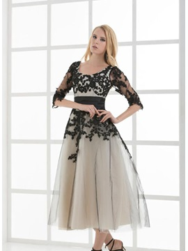 A-Line Half Sleeves Appliques Tea-Length Lace-up Evening Dress & Evening Dresses 2012