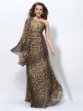 One-Shoulder Long Sleeve Leopard-Print Evening Dress