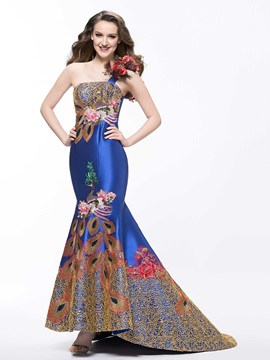 Luxurious Embroidery One-Shoulder Flowers Mermaid Court Train Evening Dress & affordable Evening Dresses