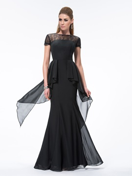 Vintage Sheath Short Sleeves Lace Bateau Neckline Long Evening Dress & attractive Evening Dresses