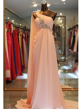 Gorgeous A-Line Crystal One-Shoulder Pleats Long Sweep Train Evening Dress & Evening Dresses under 500