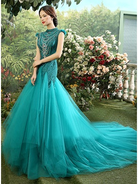 Vintage High Neck Lace Crystal Cap Sleeves Long Evening Dress & Evening Dresses 2012