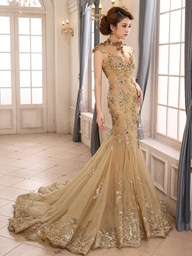 Vintage High Neck Mermaid Appliques Backless Lace-up Evening Dress & quality Evening Dresses