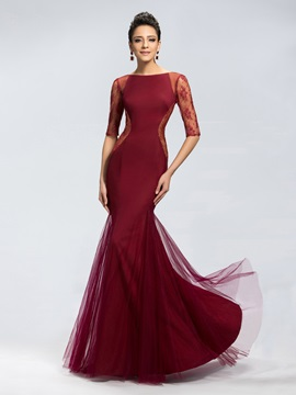 Trumpet Lace Half Sleeves Long Evening Dress Designed & discount Evening Dresses