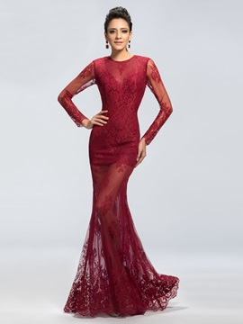 Sensual Lace Jewel Neckline Trumpet Long Sleeves Long Evening Dress Designed & casual Evening Dresses