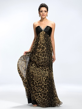 Chic A-Line V-Neck Sequins Beading Ruched Leopard Print Long Evening Dress & colorful Evening Dresses