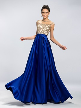 Eye-catching A-Line Jewel Neck Appliques Long Evening Dress Designed & quality Evening Dresses