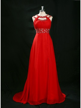 Round Neckline Beading Split-Front A-Line Court Train Long Evening Dress & vintage style Evening Dresses