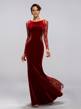 Vintage Velvet Long Sleeves Sheath Lace Evening Dress Designed & Evening Dresses for sale