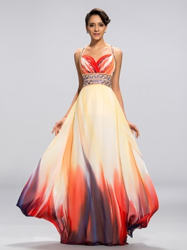 Attractive A-Line Sweetheart Straps Printed Long Evening Dress Designed & Evening Dresses for less