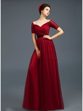Off-the-Shoulder Short Sleeves Evening Dress