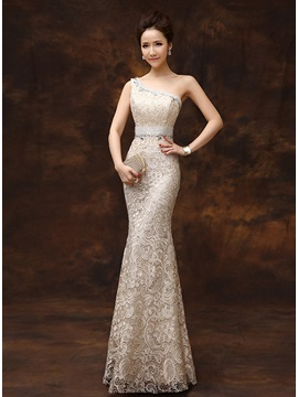 One-Shoulder Sheath Beading Lace Zipper-up Long Evening Dress & Evening Dresses from china
