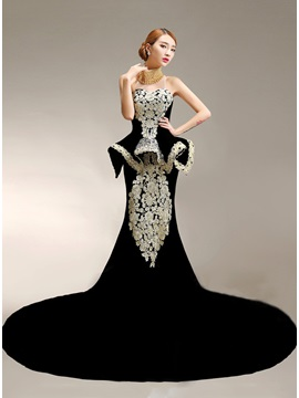 Vintage High-Neck Mermaid Appliques Pearls Chapel Train Long Evening Dress & Evening Dresses 2012