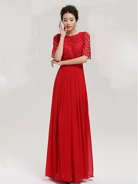 Vintage Scoop Neck Lace Half Sleeves Long Evening Dress & informal Evening Dresses