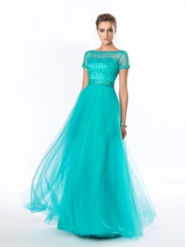 A-Line Bateau Beading Sequins Short Sleeves Long Evening Dress & Evening Dresses 2012