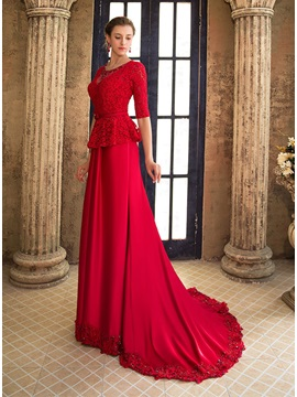 Elegant Scoop Neckline Lace Beading Half Sleeves Lace-up Long Evening Dress & Evening Dresses from china