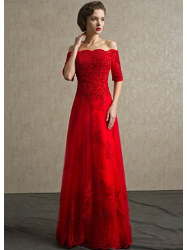 A-Line Off-the-Shoulder Appliques Sequins Long Evening Dress & Evening Dresses 2012