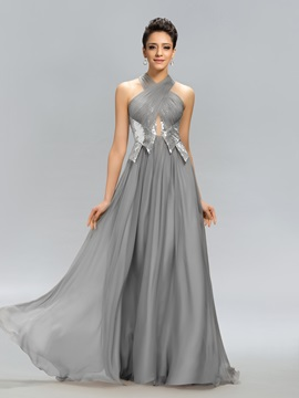 Halter Ruched Sequins Long Evening Dress Designed & attractive Evening Dresses