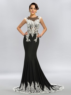 Scoop Appliques Beading Mermaid Long Evening Dress