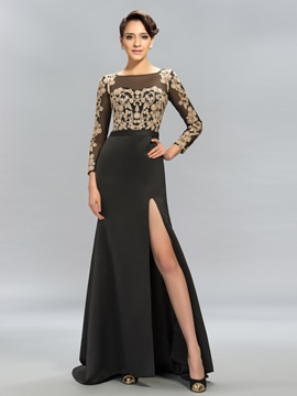 Lace Split-Front Long Evening Dress Designed
