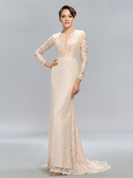Sheath Jewel Neck Lace Long Sleeves Sweep Train Evening Dress Designed & Evening Dresses online