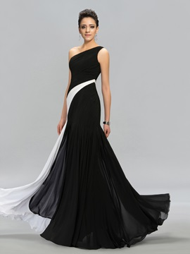 Classical Contrast Color One-Shoulder Long Evening Dress Designed & Evening Dresses under 500