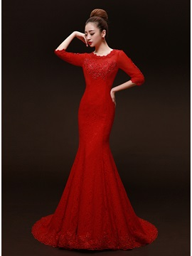 Ladylike Scoop Neck Mermaid Lace Sequins Lace-up Long Evening Dress & affordable Evening Dresses