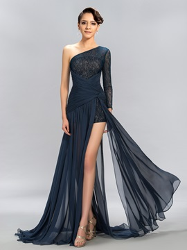 One-Shoulder Long Sleeve Lace Split Front Evening Dress