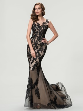 Vintage Scoop Neck Lace Appliques Trumpet -Up Long Evening Dress & affordable Evening Dresses