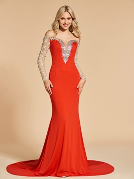 Long Sleeves Mermaid Off-the-Shoulder Beading Sequins Evening Dress
