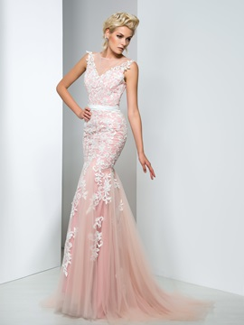 Elegant Sheer Neck Lace Appliques Long Mermaid Evening Dress & inexpensive Evening Dresses