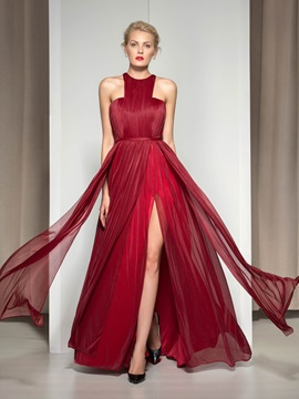 Stunning Jewel Neckline Pleats Split-Front A-Line Long Evening Dress & elegant Evening Dresses
