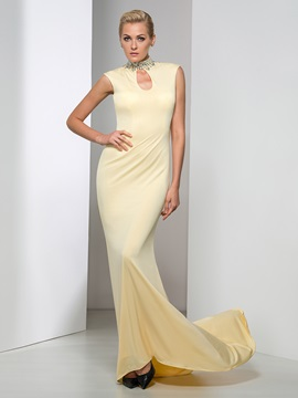 Gorgeous High Neck Hollow Sequined Beaded Long Evening Dress & amazing Evening Dresses